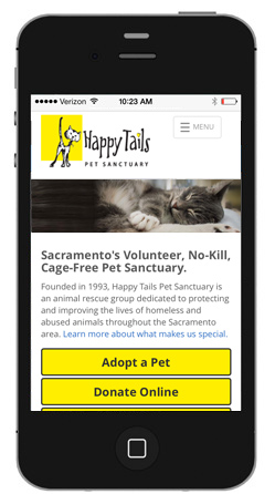 Happy Tails mobile site